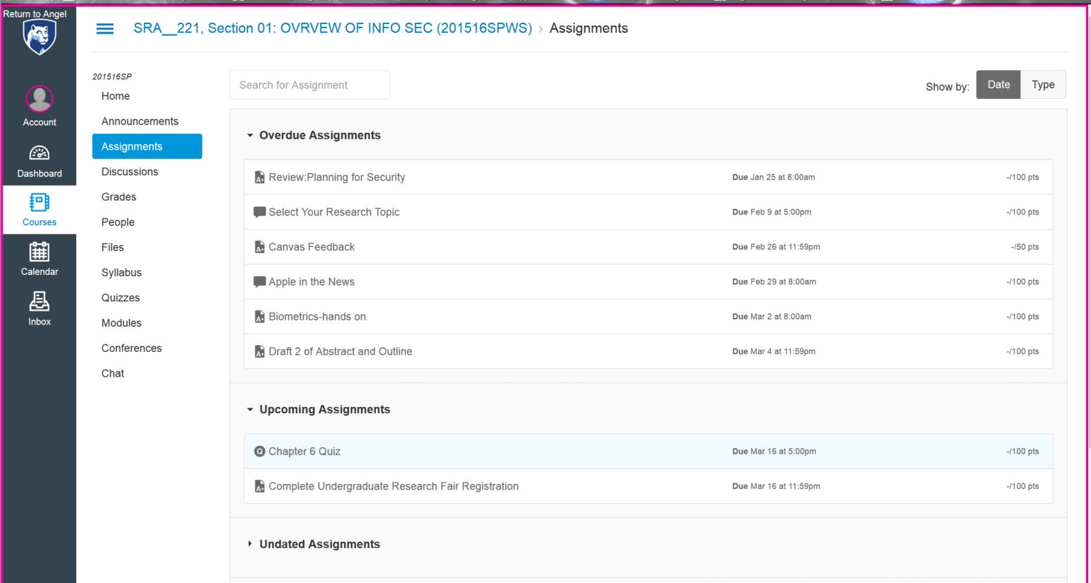 image -- screen shot of assignments sorted by date