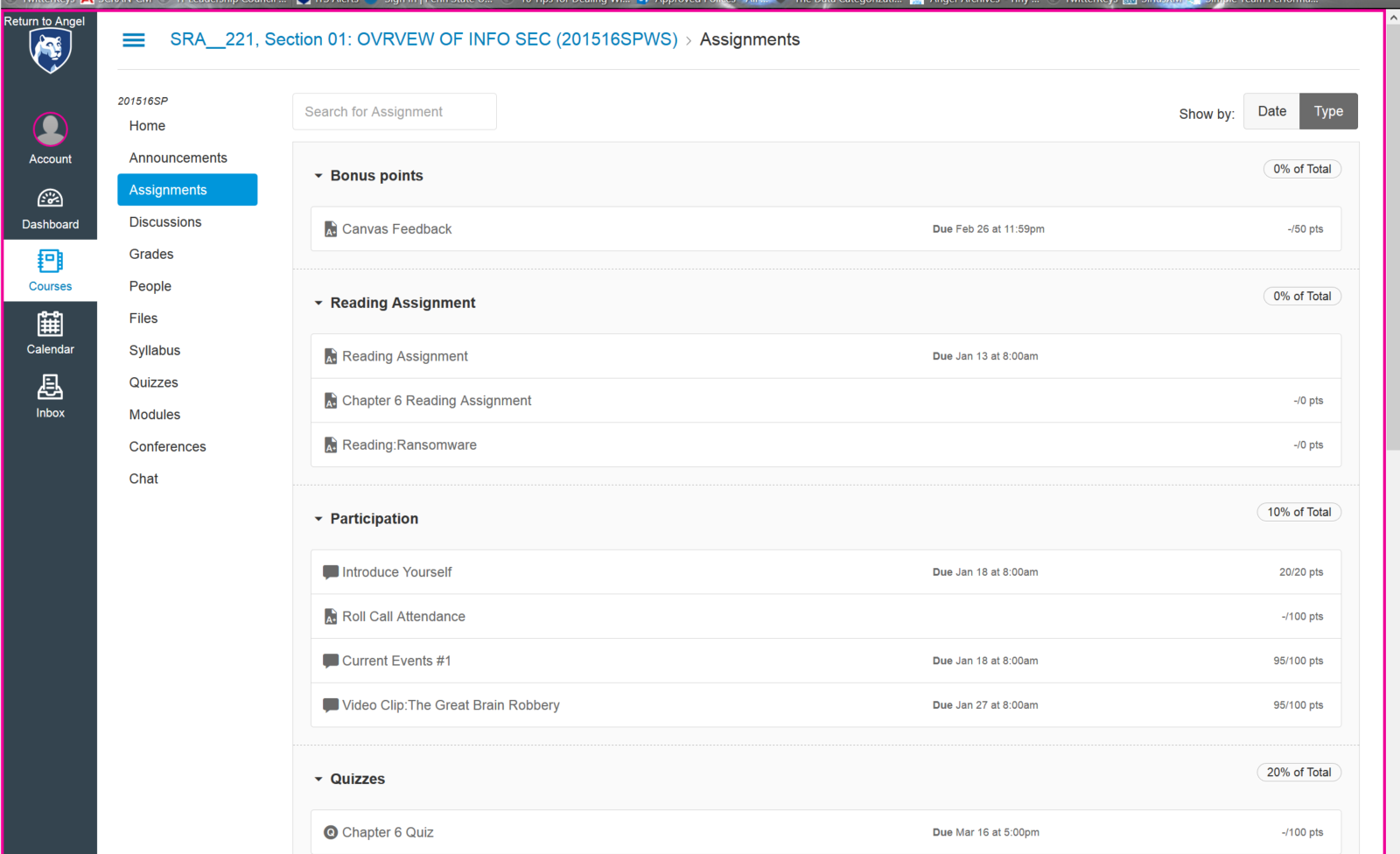 image -- screen shot of assignments sorted by type