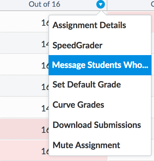 screenshot showing options under a dropdown menu in assignments